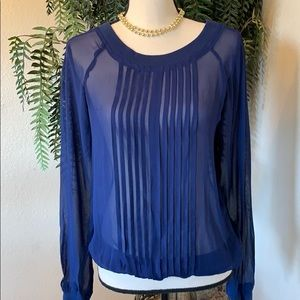 Anthro One Fine Day Blue Sheer Long Sleeve Blouse